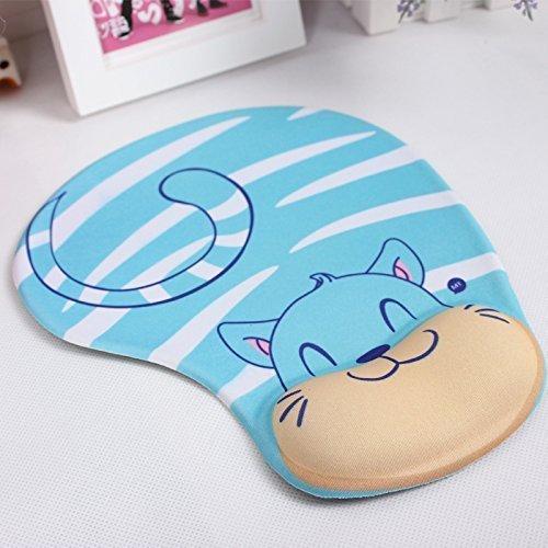Onwon Cartoon Wrist Protected Personalized Computer Decoration Gel Wrist Rest Mouse Pad Ergonomic Design Memory Foam Mouse Pad Gel Mouse Pad/Wrist Rest(Blue Cat Style)