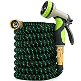 Zalotte Expandable Garden Hose with 9 Function Nozzle, Leakproof Lightweight Expanding Garden Water Hose with Solid...