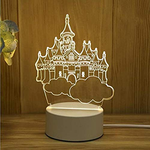 wangzj Night Lights Lámpara de regalo Lámpara de noche Lámpara pequeña-Castle in The Sky led Lámpara de mesa de regalo 3D Decoración del dormitorio