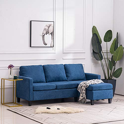 Bonnlo Convertible Sectional Sofa L Shaped Sectional Couch Small 3-Seater Sectional Sofas,Modern Living Room Sectional Sofa Couch with Reversible Chaise (Blue)