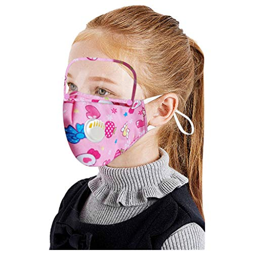 JSPOYOU Kids Cartoon Face with Filters and Detachable Eye Shield and Breather Valve