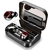Donerton Écouteur Bluetooth sans Fil 5.0, IPX8 Oreillette Bluetooth avec 3500 mAh Boîte de Charge, Stéréo 3D Ecouteurs Intra Auriculaires Bluetooth avec Mic, Intégré Contrôle Tactile et Écran LCD