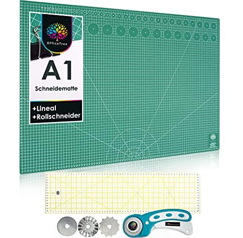 OfficeTree Set de Base de Corte A1 Verde + Cutter Rotatorio + Regla Patchwork 60x15 - Tabla de Corte Patchwork 90x60 cm - Alfombrilla de Corte - para Costura y Manualidades