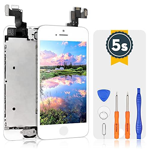 bokman Écran Tactile LCD pour iPhone 5s/SE Blanc Vitre LCD Ecran Assemblé avec Capteur de Proximité, Écouteur, Caméra Frontale et Kit de Réparation