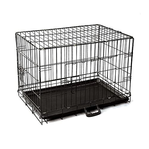 Nobleza - Jaula Metálica para Perros, Transportín Plegable Mascotas, Jaula para Mascotas con 2 Puertas, Bandeja Base de Plástico Resistente a la Masticación y Asa de Transport - 61x42x48,5cm Negro