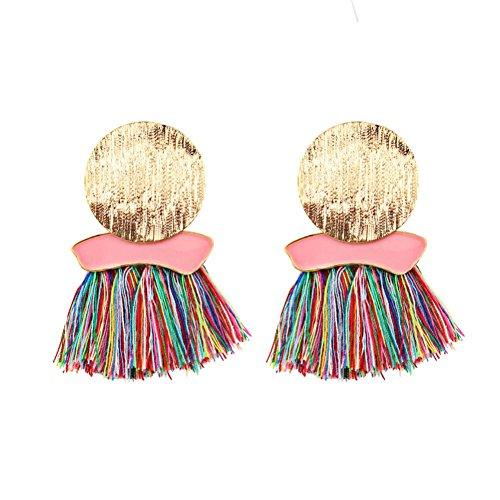 Fossrn Pendientes Mujer Baratos, Pendientes mujer Largos Flecos Borla Aretes Accesorios de Joyería Mujeres (Multicolor)