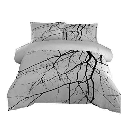 PPKMBGRS Duvet Cover 260cmx240cm Season Soft Microfiber Premium Case Fitted Bedding Set Cosy With Pillow Case Warm Forest,Branches,For Room Bedroom Bed Decoration