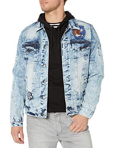 Southpole Men's Aian Utility Premium Fashion Denim Jacket, Light Sand Blue Originals, Medium