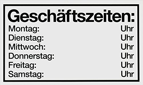 """Metafranc Hinweisschild """"Geschäftszeiten: Mo-Sa"""" - 250 x 150 mm / Beschilderung / Infoschild / Geschäftszeiten / Urlaubszeiten / Öffnungszeiten / Gewerbekennzeichnung / 500160"""