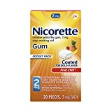 Nicorette Nicotine Gum, Stop Smoking Aid, 2 mg, Fruit Chill Flavor, 20 count nicotine gums Apr, 2021
