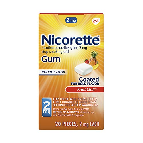 Nicorette 2mg Nicotine Gum to Quit Smoking - Fruit Chill Flavored Stop Smoking Aid, 20 Count