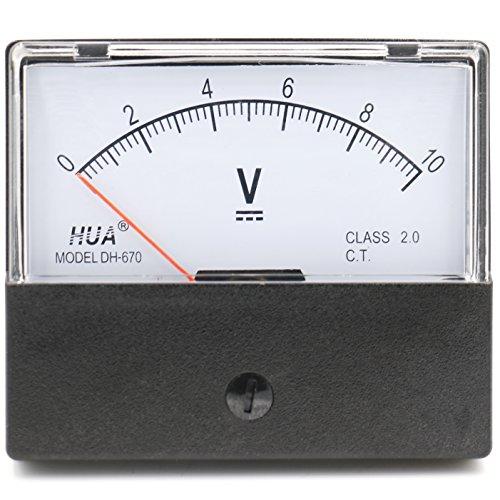 Voltímetro rectangular analógico Heschen, panel de voltios para medir el voltaje, estilo 670, CC, 0 – 10 V, Clase 2.0