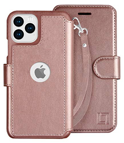 LUPA iPhone 11 Pro Wallet Case -Slim iPhone 11 Pro Flip Case with Credit Card Holder, iPhone 11 Pro Wallet Case for Women & Men, Faux Leather i Phone 11 Pro Purse Cases, Wristlet Rose Gold