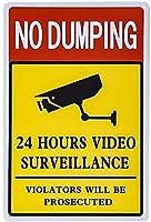 ダンピング警告なしカメラメタルティンサイン監視アラートアートプラークビジネスホームバールームセキュリティプリントハンギングアートワークアウトドアリビングヴィンテージファームヤードサインストリートパブリックサイン12インチX8インチ メタルプレートブリキ 看板 2枚セットアンティークレトロ