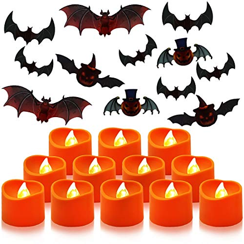 Rofesi LED Flameless Tea Lights Candles, 12 Battery Operated LED Realistic Flickering Bright Tealight Candles with 1 Pack of Bats Stickers for Family Gathering and Halloween Decoration, Warm Yellow