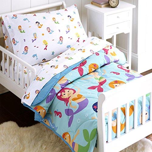 Wildkin 4 Piece Lit pour Enfant-in-A-Bag, 100% Microfibre Literie, Comprend Consolateur , coordonne avec d'autres Chambres de décoration intérieure, Sirènes Design Enfants Olive