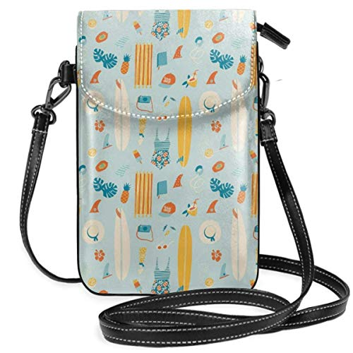 Jiger Women Small Cell Phone Purse Crossbody,Repetitive Summer Items With Pattern Surfboard Ice Cream Bikini Ananas