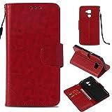 Lomogo Huawei GT3 Hülle Leder, Schutzhülle Brieftasche mit Kartenfach Klappbar Magnetverschluss Stoßfest Kratzfest Handyhülle Case für Huawei GT3 / Honor 5C - LOYBO37212 Rot