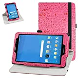 AT&T Trek 2 HD Rotating Case (Model 6461A),Mama Mouth 360 Degree Rotary Stand with Cute Cover for 8' ZTE Trek 2 HD K88 /ZPad 8 K81 Android Tablet,Rose Red