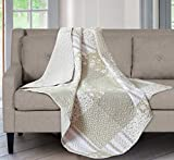 SLPR Silent Reverie Quilted Throw Blanket - 50' x 60' | Tan Lap Quilt for Couch and Bed