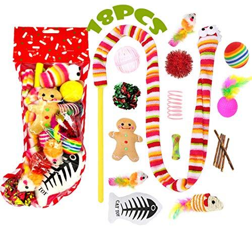 18 STÜCKE Weihnachten Katze Spielzeug Set, Spielzeug Interaktive Katze Ball Spielzeug Mäuse Spielzeug Katze Teaser Zauberstab