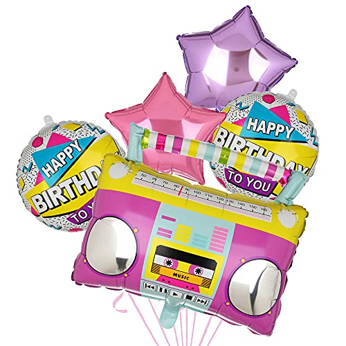 5 Piece Boombox and Stars 80s Party Balloons Kit.