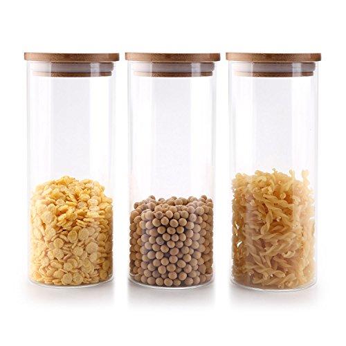 ComSaf 900ml Glasbehälter Φ8cm Vorratdosen Vorratsglas aus Borosilikatglas mit Bambus-Deckel, geeignet für Lebensmittel, 3er Set