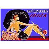 Ibiza Playas Maravillosas Moda Playa Chica Sombrero Grande Viaje Vintage Art Film Print Poster Decoración de la pared del hogar -50x75cm Sin marco
