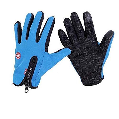 Gants de vélo de Pare-Brise de Sports d'hiver de Cyclisme Technologie Coupe-Vent à glissière Chaude Hommes et Femmes écran Tactile Gants d'équitation Noirs - G016 Style 1 Bleu, Taille Unique