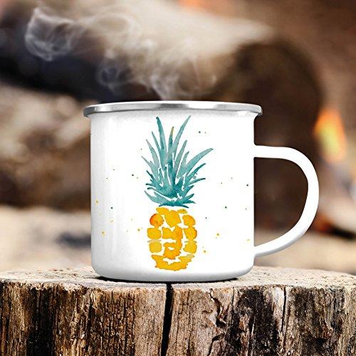 """Wandtattoo-Loft Campingbecher """"Ananas"""" mit Punkten Emaille Tasse/Becher mit Motiv/silberner Tassenrand"""