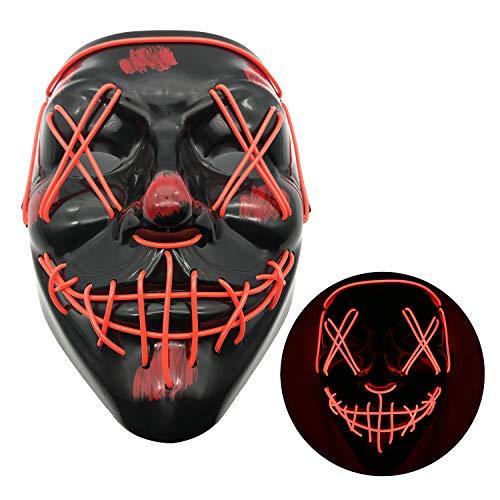 The Purge Maske Halloween Masken LED Maske mit 3 Blitzmodi für Halloween Fasching Karneval Party Kostüm Cosplay Dekoration Halloween Gruselige Maske-Rot