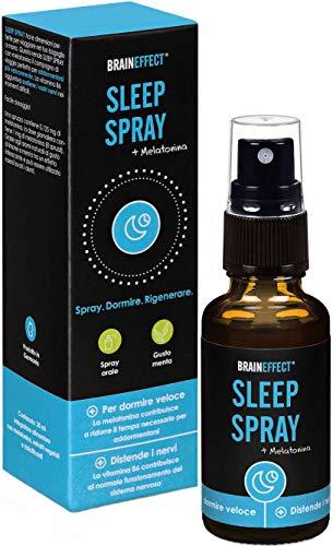 BRAINEFFECT SLEEP SPRAY - 1mg Melatonina per Porzione - 30ml - Aiutano per Addormentarsi Velocemente - Vegano - German Quality
