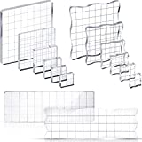 14 Pieces Stamp Blocks Assorted Acrylic Blocks Clear Stamping Blocks with Grid Lines Decorative Stamp Blocks for Scrapbooking Album Card Making Decoration