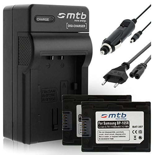 2 Akkus + Ladegerät (KFZ, Netz) für Samsung IA-BP105R / SMX-F50, SMX-F70