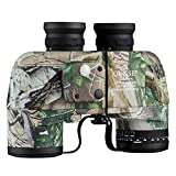 QUNSE 10x50 HD Binoculars with Compass and Rangefinder Large Object FMC Lens Clear View BAK4, with Shoulder Harness Strap and Binoculars Bag (Camouflage)