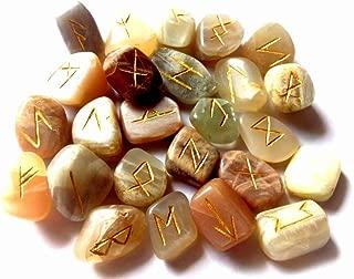 WholesaleGemShop Rune Set in Multi Gemstones with Velvet Bag (Moonstone)