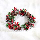 ChezMax 4 Pack Christmas Snowy Red and Green Beaded Berry Pinecone Candle Rings Tea Light Candle Holder Small Wreaths for Rustic Wedding Party Home Decor Diameter 4 Inches