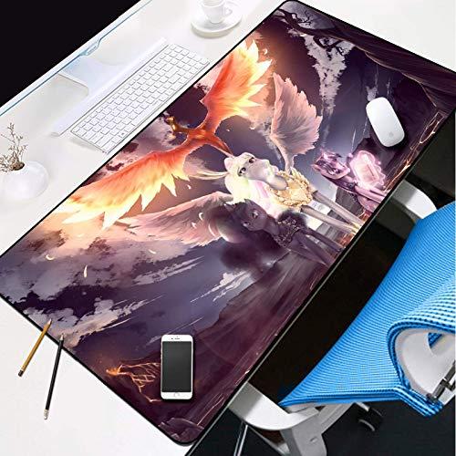 Alfombrilla Raton Xxl Alfombrilla Gaming Mousepad extendido con bases antideslizantes y bordes cosidos, almohadillas de teclado de resistencia al agua Fire de dibujos animados Fire Phoenix Poty Patter