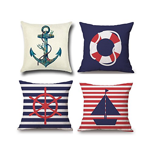 ETZON Sofa Cover Pillow Covers Pillow Covers Navy Nautical Theme Cushion Covers Throw Pillow Cover Couch Pillows Decorative 4 Pack (Nautical set of 4)