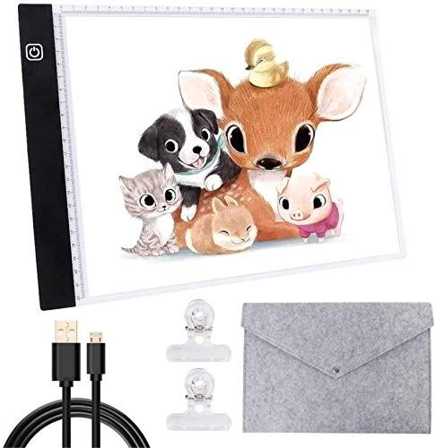 A4 Light Board Portable LED Tracing Light Box Adjustable Ultra Thin Light Drawing Pad USB Powered with Felt Bag and Clips for Artists 5D Diamond Painting Craft Sketching and Animation Design