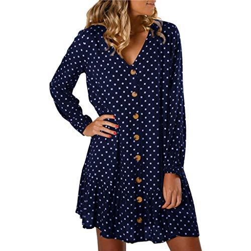 Canifon Damen Tupfen Strand Minikleid Frauen Boho V-Ausschnitt Taste Rüsche Lange Ärmel Kleid