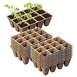 Juego de macetas de cultivo biodegradables, 12 rejillas, semillas, para principiantes, bandeja de semillas, semillas, para plantas, semillas, para plantas, huertos, invernaderos y jardín (20 unidades)