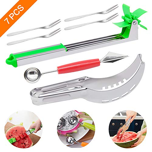 7PCS Sayopin Watermelon Cutting Tool Stainless Steel Watermelon Slicer Knife Set 2 Pcs Watermelon Cutter + 1 Melon Baller Scoop With Fruit Carving + 4 Dessert Fruit Fork Kitchen Gadget For Fruit