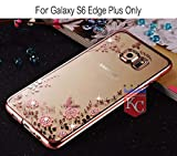 KC Shockproof Silicone Soft Transparent Auora Flower Crystals Back Cover for Samsung Galaxy