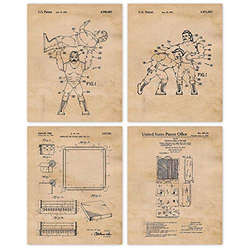 Vintage Wrestling Patent Art Poster Prints, Set of 4 (8x10) Unframed Photos, Wall Art Decor Gifts Under 20 for Home, Office, Shop, Garage, Man Cave, Student, Teacher, Wrestlers, Coach, WWE & MMA Fan