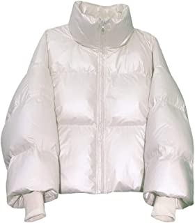 Down Jacket Women's Outdoor Short Paragraph Winter Casual Standing Collar Thickening Loose White Duck Down Bread Clothing (Color : White, Size : XS)