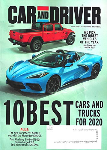 CAR AND DRIVER Magazine (January, 2020), 10 BEST CARS AND TRUCKS FOR 2020,...