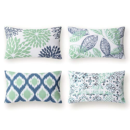 Phantoscope Set of 4 New Living Series Decorative Throw Pillow Case Cushion Cover, Cyan and Blue, 12 x 20 inches, 30 x 50 cm