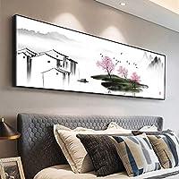 ファッション抽象芸術中国の風景水墨画壁にキャンバスの絵画風景ポスターは、リビングルームの装飾のための写真を印刷します30x90cm