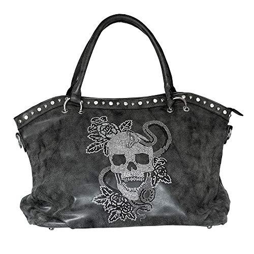 Snake of Death Shopper Damenhandtasche mit Strass Totenkopf im Glamour Rock Style